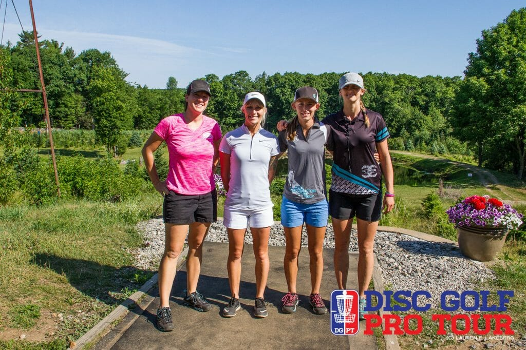 New world champion Valarie Jenkins, Catrina Allen, Paige Pierce, and Sarah Hokom will take the stage today at the Ledgestone Open Women's Showcase. Photo: Lauren Lakeberg, Disc Golf Pro Tour